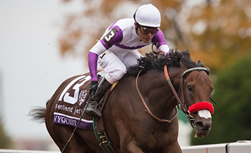 Nyquist winning the 2015 Breeders' Cup Juvenile (photo from the Racing Post)