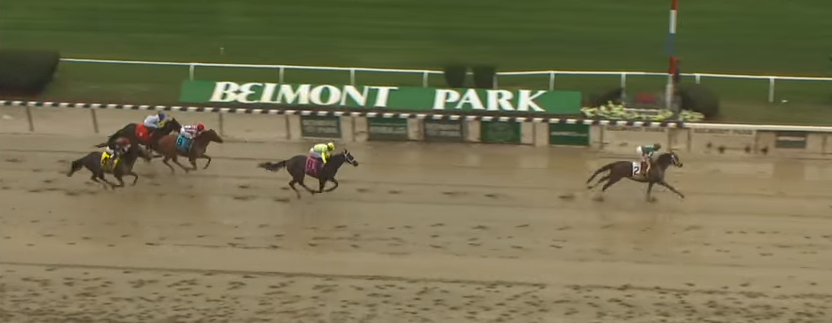 Greenpointcrusader splashes to victory in the 2015 Champagne Stakes.