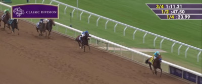 Effinex chases American Pharoah home in the 2015 Breeders' Cup Classic