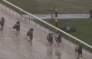 "American Pharoah wins a ""sloppy"" edition of the Rebel Stakes in 2015."