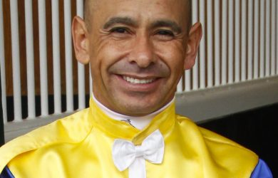 Jockey Mike Smith guided Danzing Candy to a wire-to-wire score in the San Felipe (photo via www.hkjc.com).
