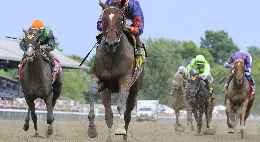 Off the Tracks winning the Schuylerville Stakes on opening day at Saratoga Race Course (AP Photo/Hans Pennink)