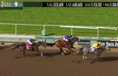 Tara's Tango rallies to win the 2016 Santa Margarita Handicap.
