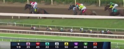 Songbird establishes a clearly early lead en route to an easy victory in the Santa Ysabel Stakes at Santa Anita Park Saturday