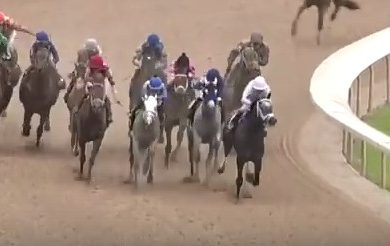 The horses turn for home in the 2016 Arkansas Derby.