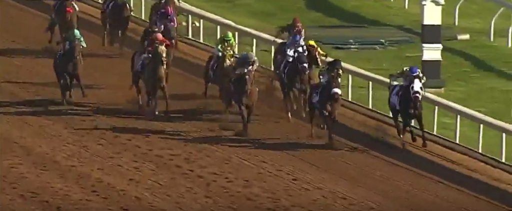 Brody's Cause forges to the front in the stretch of Blue Grass Stakes.