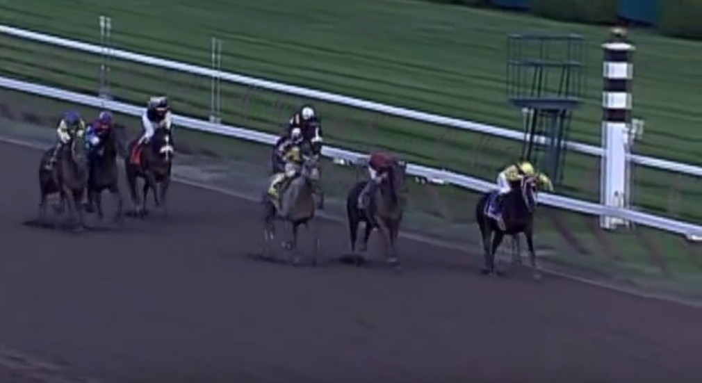 Rachel Alexandra holds of Macho Again in the 2009 Woodward Stakes.