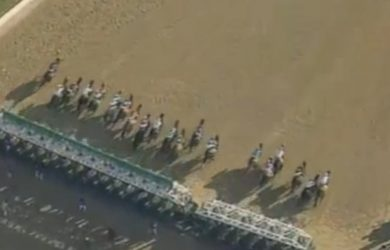 Overhead shot of the start of the 2008 Kentucky Derby.
