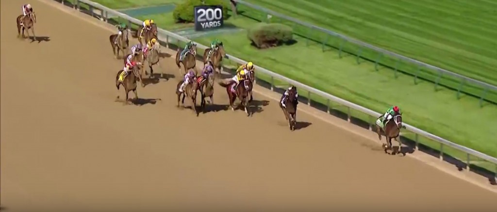 Cathryn Sophia draws clear in the stretch of the Kentucky Oaks.