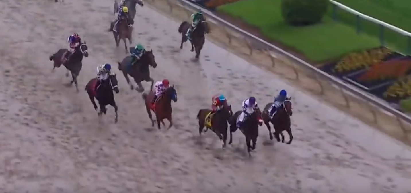 Exaggerator storms to victory in the Preakness Stakes over a sloppy Pimlico racetrack.