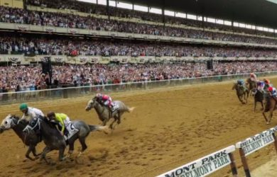 Creator (left) and Destin (right) battle to the wire in the 2016 Belmont Stakes.