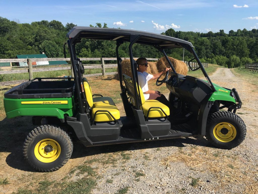A John Deere Gator, donated by Shawnee Farm and the NRTA, was among the supplies that arrived on Tuesday.