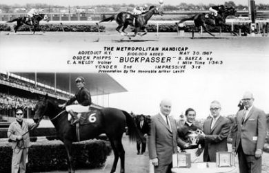 Photo of Buckpasser winning the 1967 Met Mile (via www.jockeysite.com).