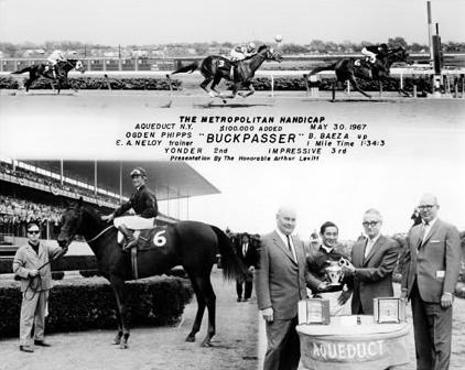Photo of Buckpasser winning the 1967 Met Mile (via www.jockeysite.com).