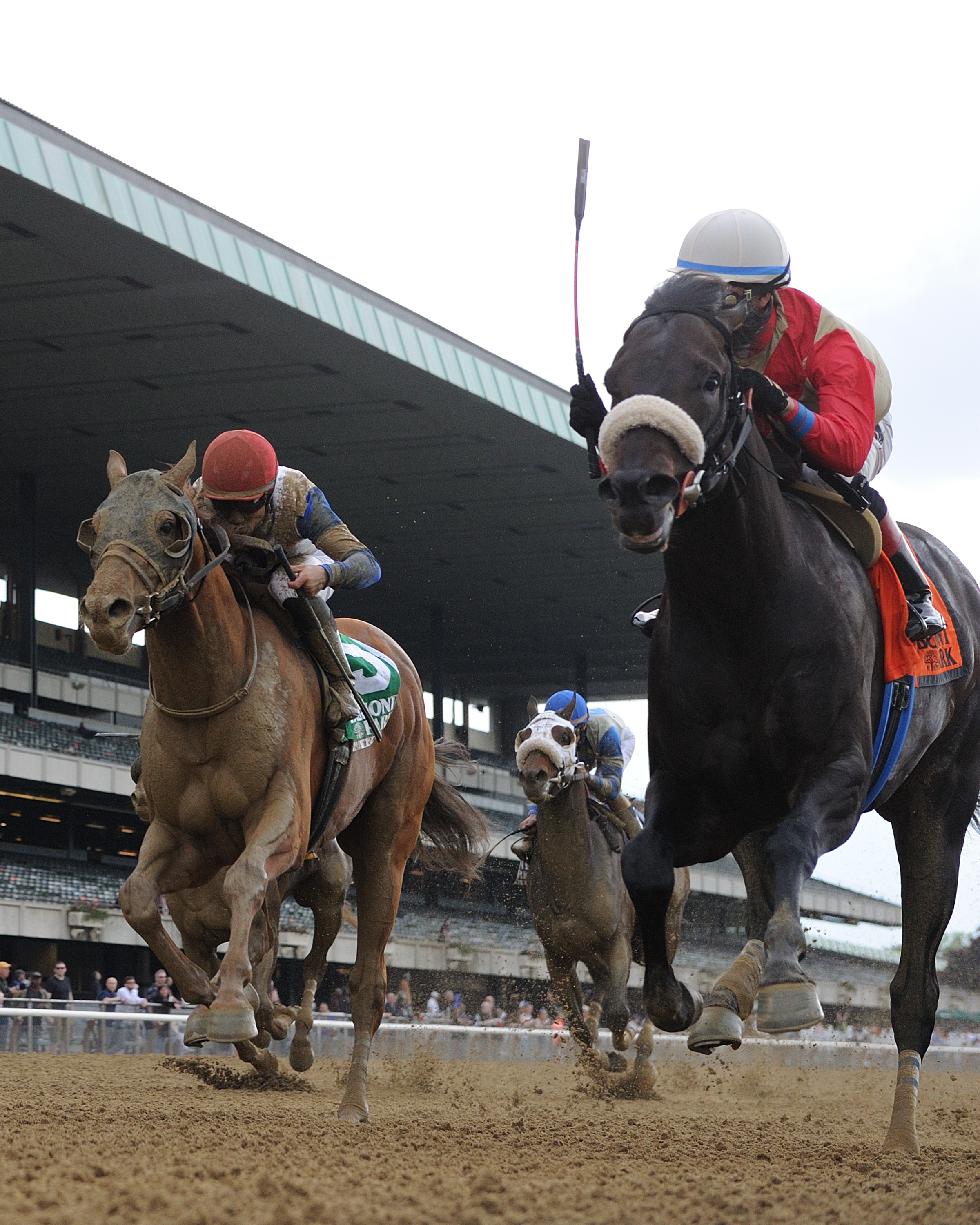 Governor Malibu (left) runs at Unified in the Peter Pan Stakes at Belmont Park (photo via NYRA/Adam Coglianese).