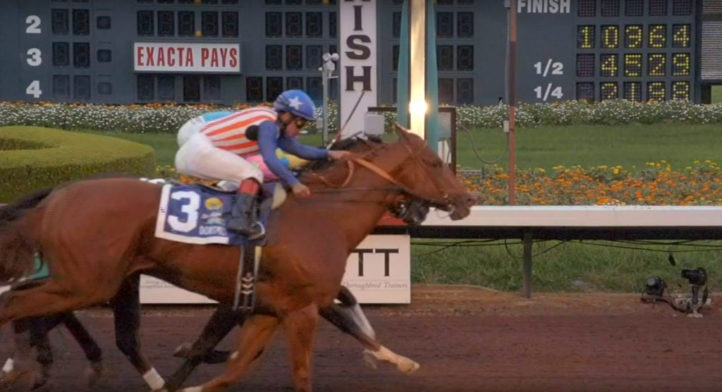 Dortmund edges Firing Line in the 2014 Los Alamitos Futurity.