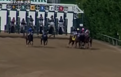 I'm a Chatterbox (4) makes a left-hand turn leaving the gate of the Delaware Handicap, impeding several rivals.
