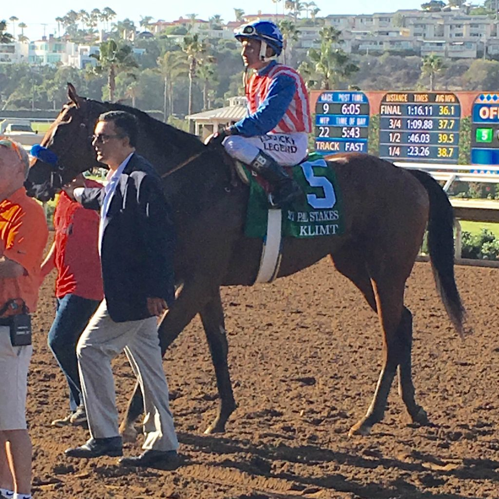 Klimt in the winner's circle after capturing the Best Pal Stakes at Del Mar.