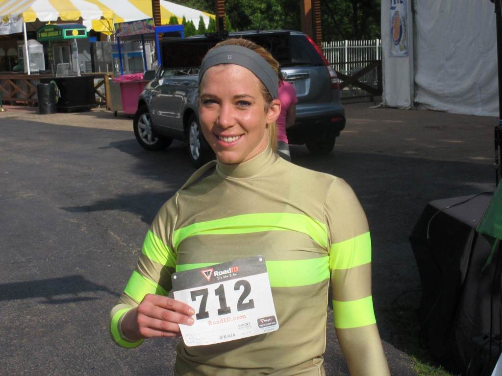 Stephanie Slinger after completing the Arlington Park 5K to benefit the Permanently Disabled Jockey Fund.