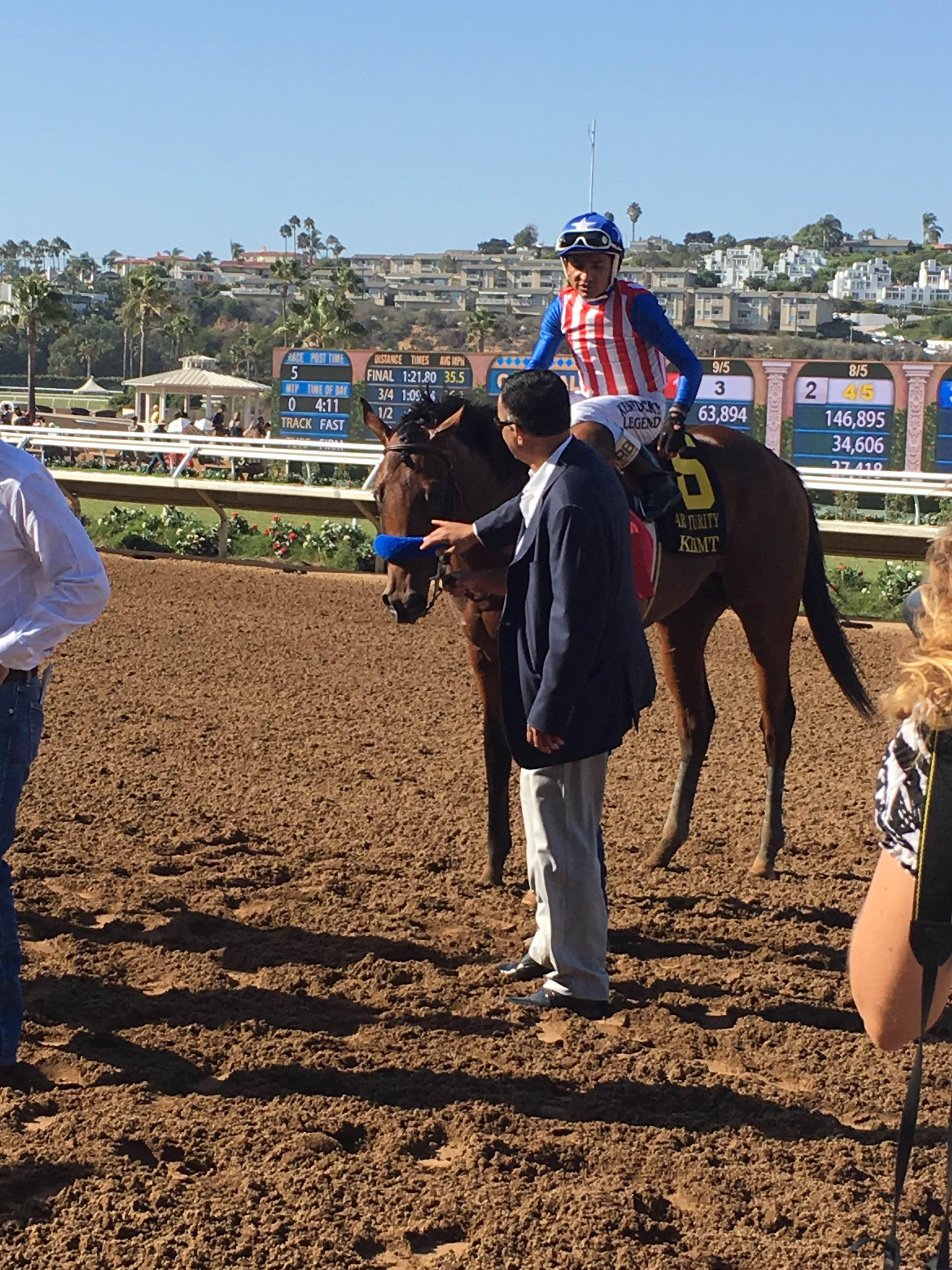 Klimt makes his way to the Del Mar winner's circle.