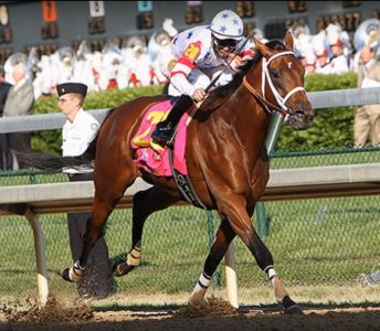 Big Brown winning the 2008 Kentucky Derby.