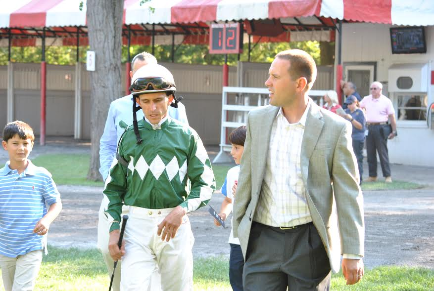 Ramon Dominguez and trainer Chad Brown at Saratoga in 2012. (Photo courtesy of Gonzalo Anteliz Jr.)