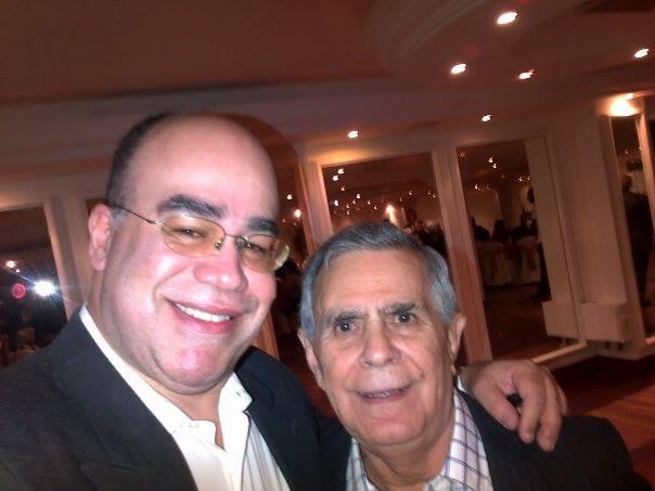 Author Ramon Barito with Canonero II's jockey Gustavo Avila (photo courtesy of Ramon Brito).