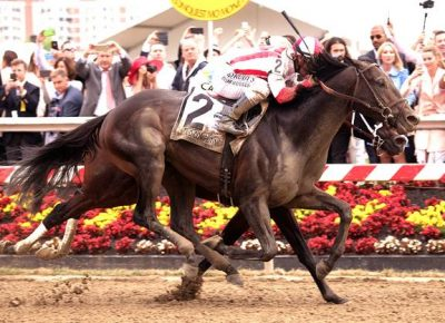 Cloud Computing storms past Classic Empire late to win the Preakness Stakes (photo via Jim McCue, Marlyland Jockey Club).