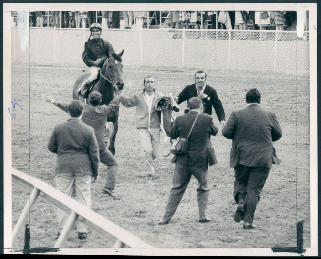 Canonero II gets a big greeting coming back up track and on the way to the Pimlico winner's circle. (Clarence B. Garrett/Baltimore Sun, 1971)