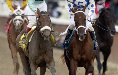 Jockey Edgar S. Prado, left, aboard Birdstone, reacts after winning the Belmont Stakes as jockey Stewart Elliott, right, aboard Smarty Jones looks on at Belmont Park, Saturday, June 5, 2004, in Elmont, N.Y. Smarty Jones finished second. (AP Photo/Frank Franklin II)