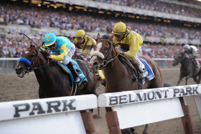Union Rags edges past Paynter in the late stages of the 2012 Belmont Stakes.