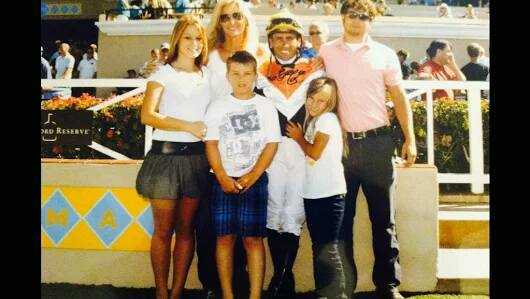 Garrett Gomez and family at Del Mar Racetrack (photo courtesy of Pam Gomez).