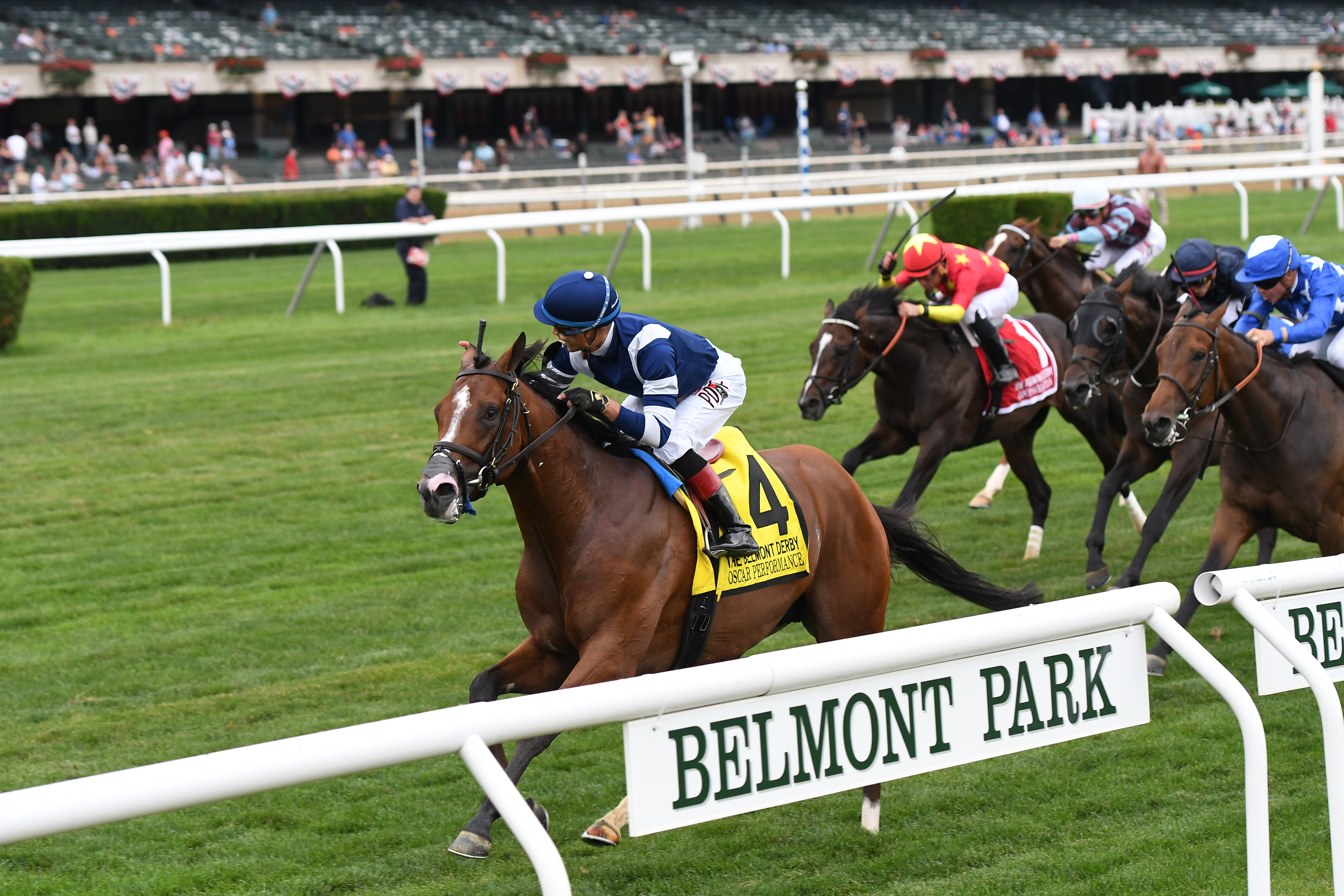 Oscar Performace wins the Grade I Belmont Derby in wire-to-wire fashion (photo via Annette Jasko/NYRA).