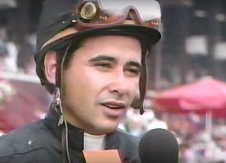 A young Mike Smith after the Travers Stakes (photo via ABC Sports).