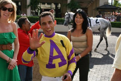 Jockey John Velazquez and Michelle Nihei (photo courtesy of Michelle Nihei).