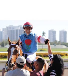 Mayrhofen, ridden by Luca Pacini, breaks his maiden at Gulfstream Park (photo courtesy of Michelle Nihei).