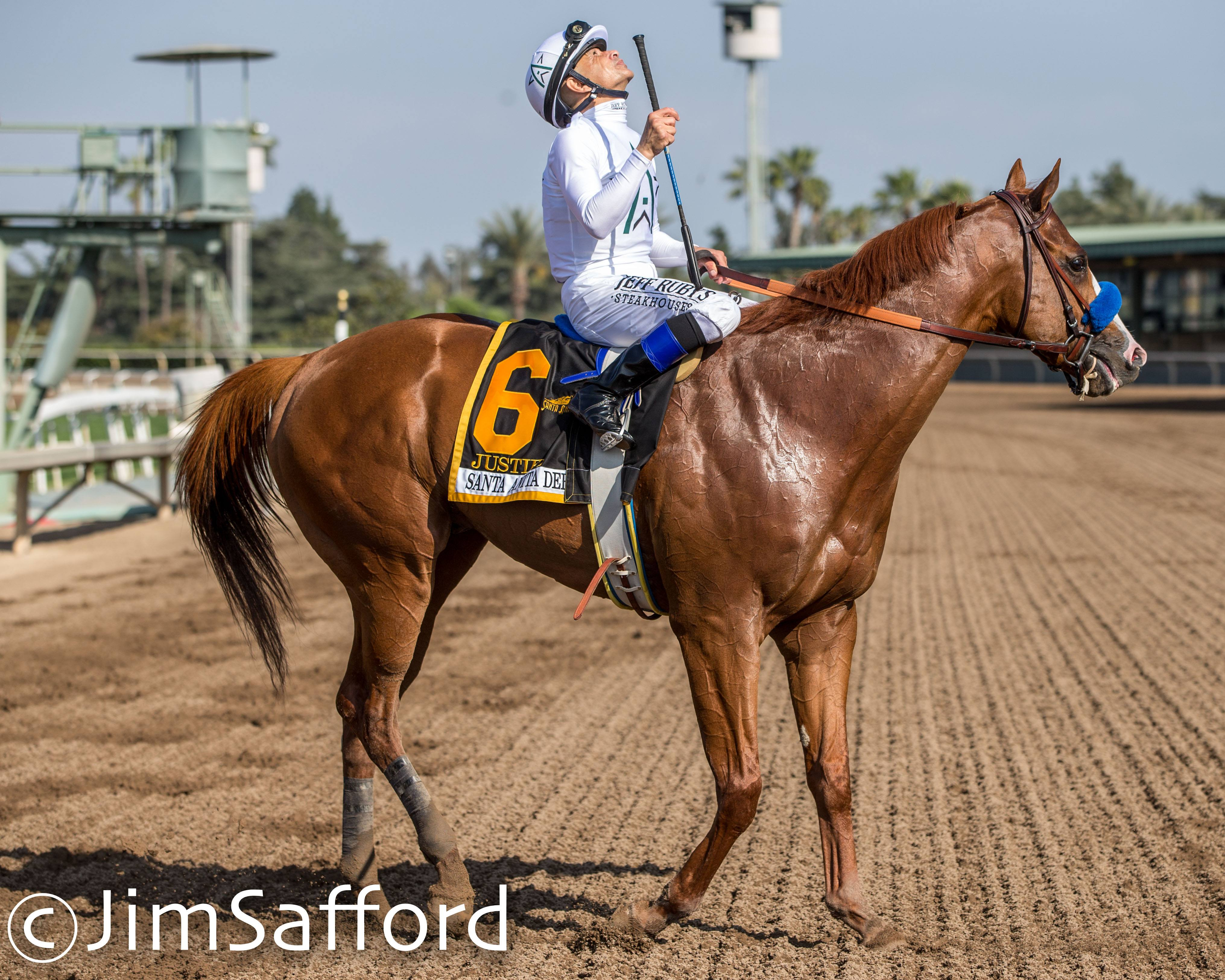 Justify and jockey Mike Smith (photo by Jim Safford).