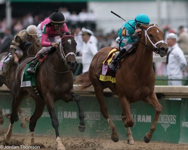 Monomoy Girl winning the Kentucky Oaks. She beat three of those same rivals on Sunday ar Saratoga in the Coaching Club American Oaks (photo by Jordan Thomson).