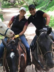 "Exercise rider Humberto ""Beto"" Gomez and his girlfriend, trainer Kristin Mulhall. Photo: Kristin Mulhall"