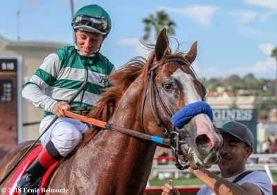 Catalina Cruiser will likely be favored to win this year's Dirt Mile (photo by Ernie Belamonte).