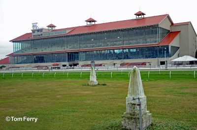 03 The graves of the beloved Black Gold (center) and Pan Zareta (right) face the Fair Grounds grandstand