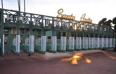 Arcadia, California/United States - December 29, 2017: Santa Anita horse race track starting gate