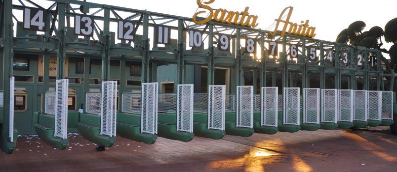 Arcadia, California/United States - December 29, 2017: Santa Anita horse race track starting gate