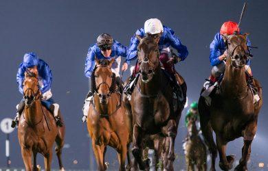 Volcanic Sky emerges winner of  the G3 - Photo Courtesy of Dubai Racing Club and Erika Rasmussen